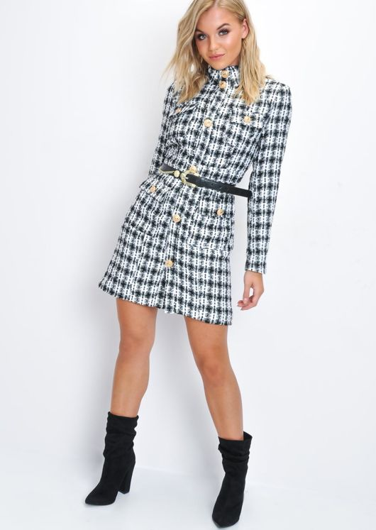 946af70bad78 Black and White Tweed Tailored Blazer Coat Dress Multi | Lily Lulu