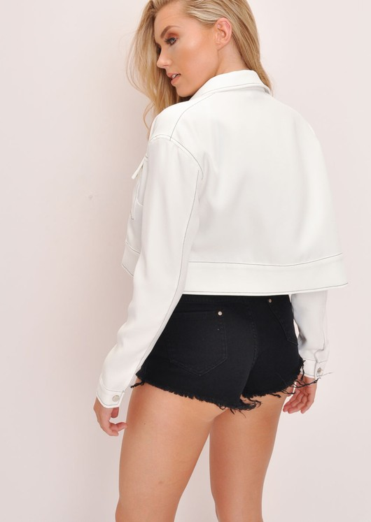 Black Contrast Stitch Cropped Jacket White