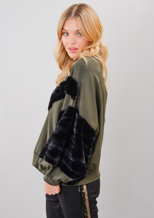Black Faux Fur Stripe Balloon Sleeve Sweatshirt Jumper Khaki Green