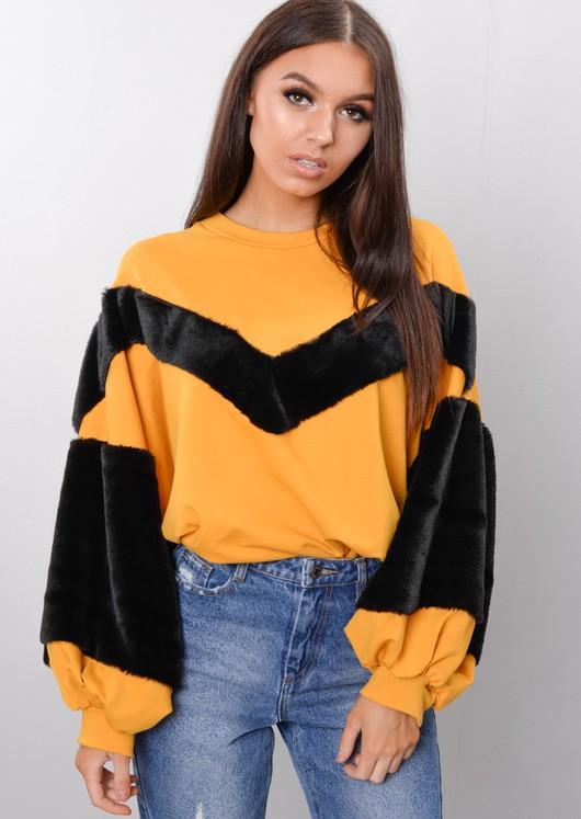 Black Faux Fur Stripe Balloon Sleeve Sweatshirt Jumper Mustard Yellow