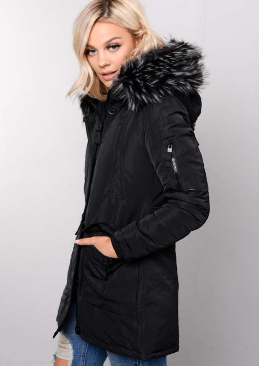 Black Faux Fur Trim Hooded Long Parka Coat Black
