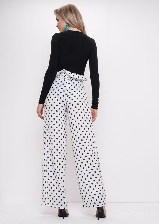 Black Polka Dot Tie Waist Paperbag Trousers White