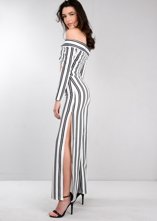 Black Stripe Crop Top and Wide Leg Trousers Co Ord Set White