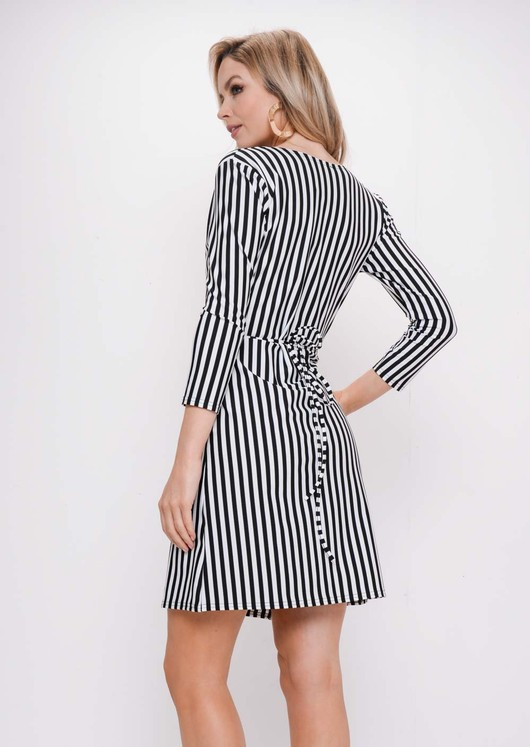 Stripe Wrap Over Skater Dress White