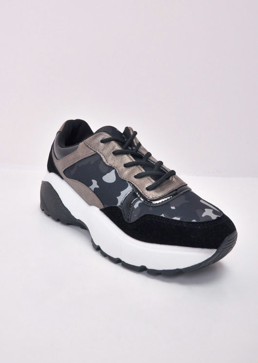 Block Multi Colour Chunky Trainers Camo Green