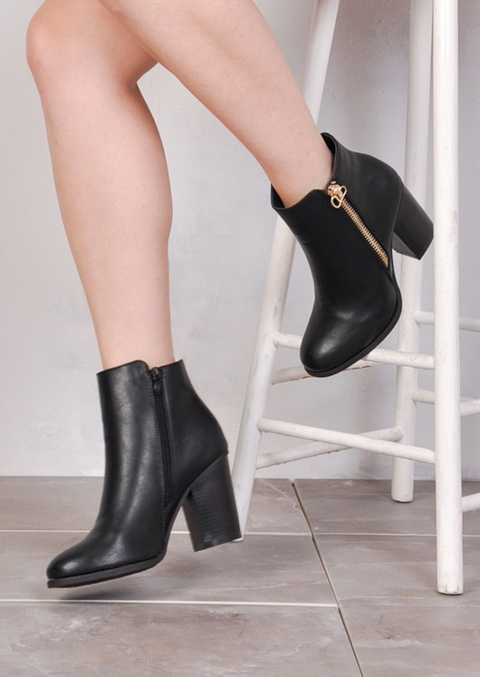Block Heel Duo Zipped Ankle Boots Black