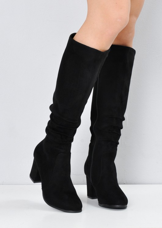 46d808aef1c Block Heel Faux Suede Ruched Knee High Boots Black