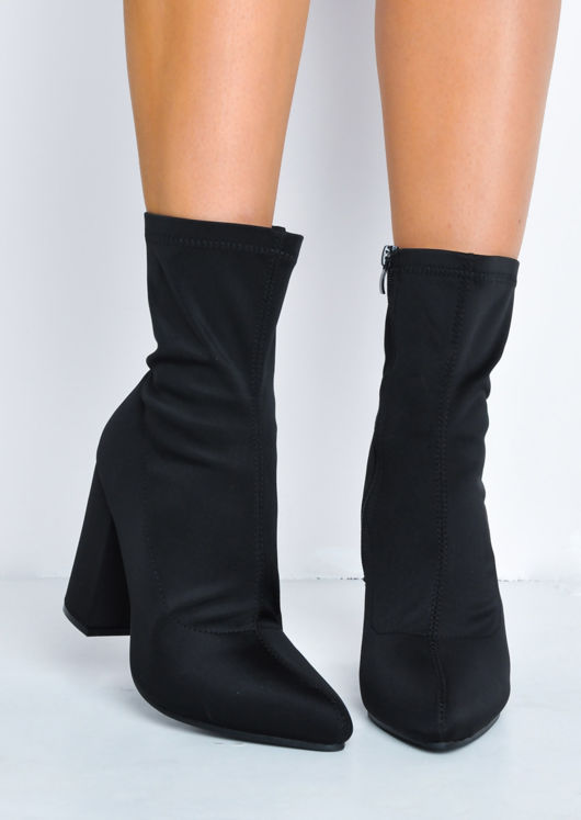 Block Heel Pointed Toe Sock Fit Ankle Boots Black