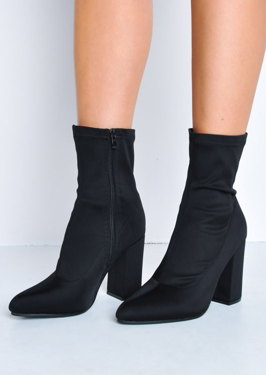 95536c38578 Block Heel Pointed Toe Sock Fit Ankle Boots Black