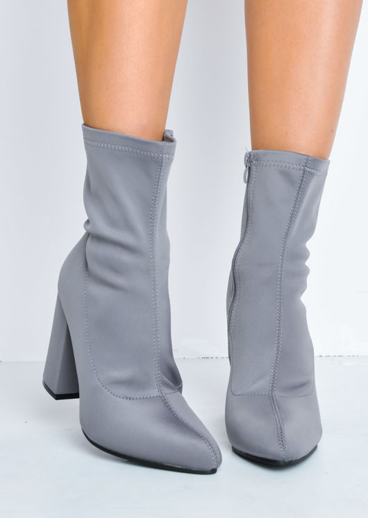 Block Heel Pointed Toe Sock Fit Ankle Boots Grey
