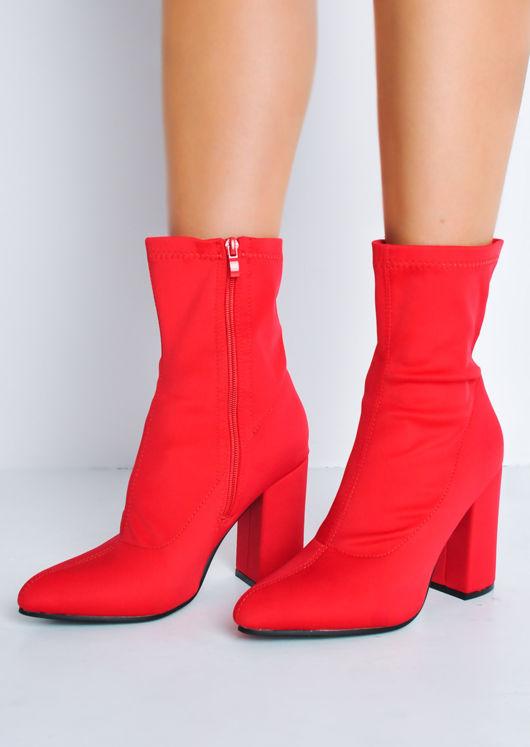 Block Heel Pointed Toe Sock Fit Ankle