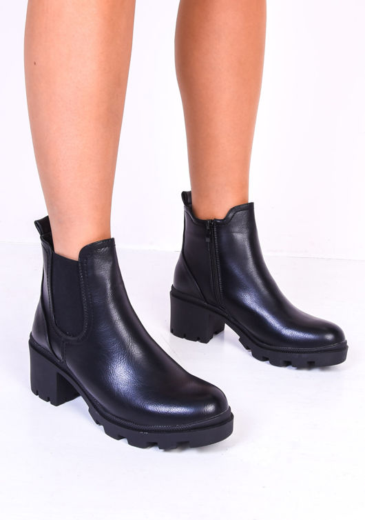 Block Heel PU Side Zip Cleated Ankle Boots Black