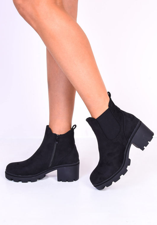Block Heel Suede Side Zip Cleated Ankle Boots Black