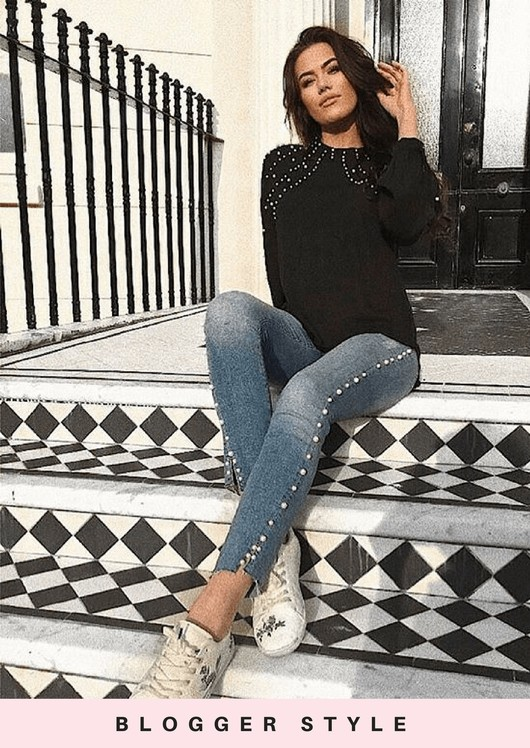 High Neck Pearl Embellished Long Sleeve Blouse Top Black