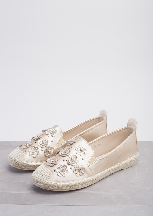 Blossom Espadrilles Flats In Metallic Gold
