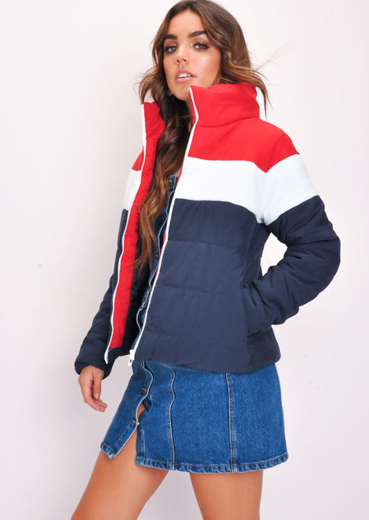 Blue Red White Stripe Boxy Puffer Jacket Multi