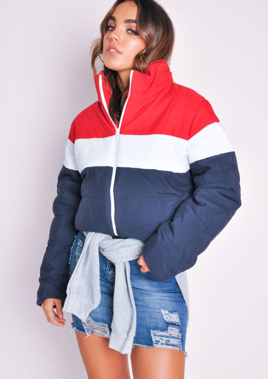 Cropped Blue Red White Stripe Boxy Puffer Jacket Multi