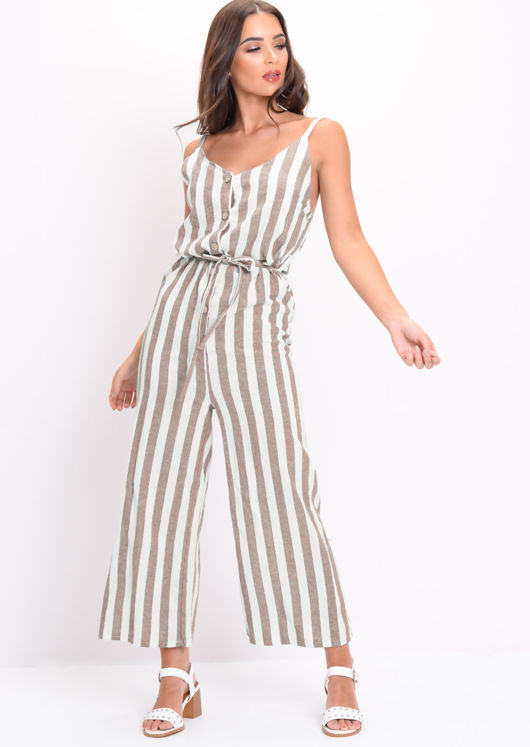 huge inventory buy sale stable quality Stripe Button Front Jumpsuit Brown