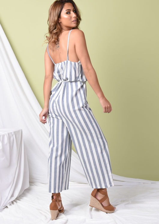 Blue Stripe Button Front Jumpsuit White