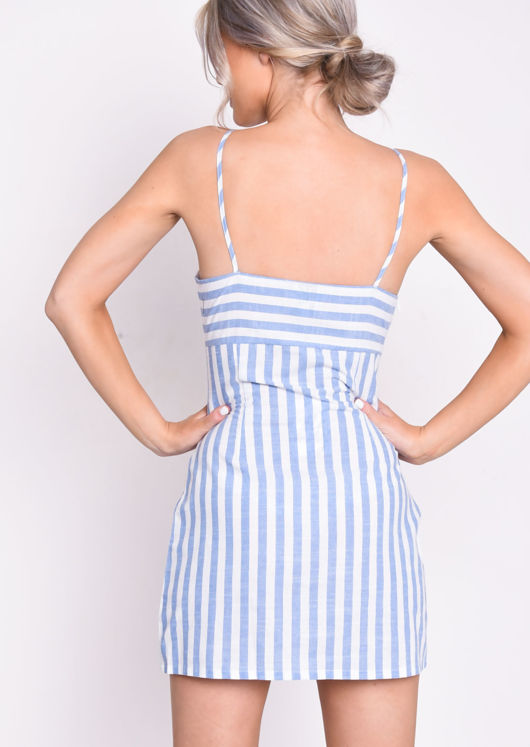 Blue Stripe A Line Slip Mini Cami Dress White