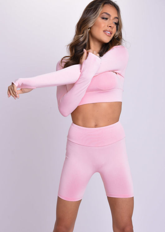 Crop Top and Cycling Shorts Loungewear Co-Ord Set Pink