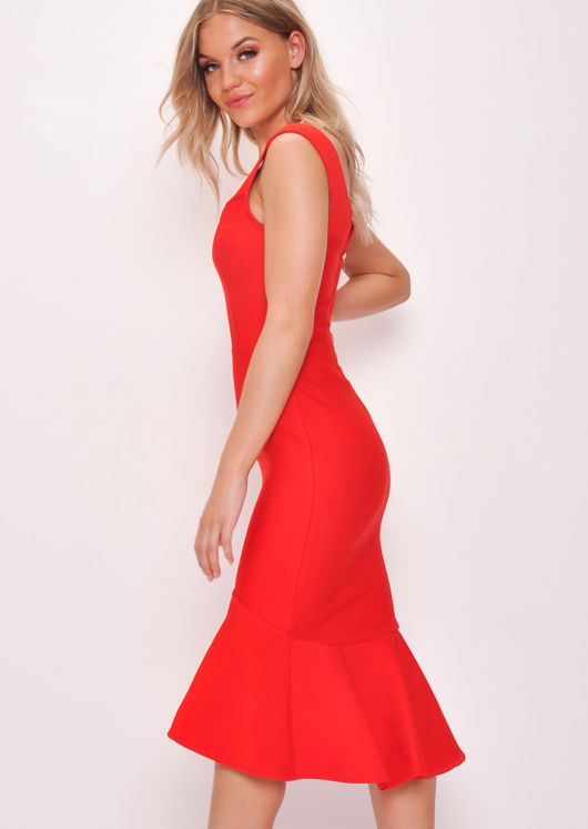 ca579bc5b0e65 Bodycon Bandage Frill Hem Fishtail Bardot Midi Dress Red | Lily Lulu