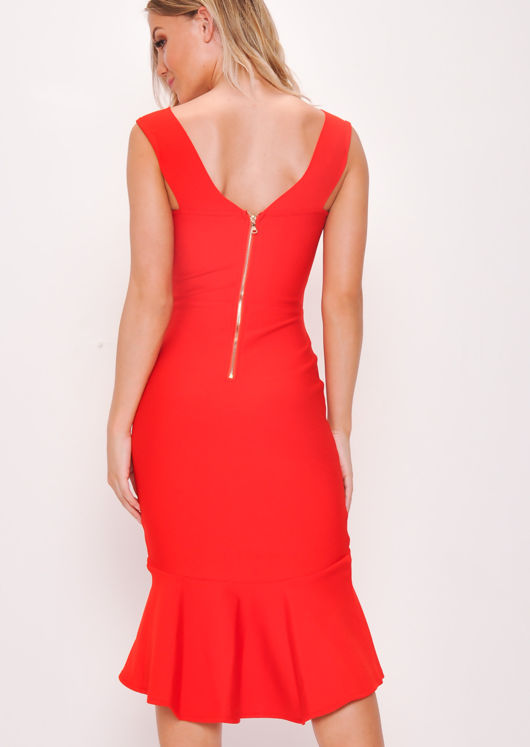 Bodycon Bandage Frill Hem Fishtail Bardot Midi Dress Red