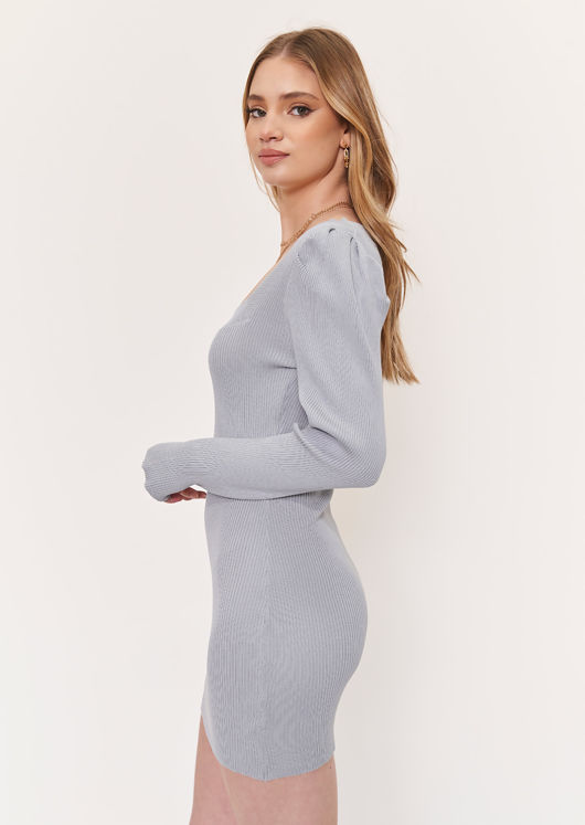 Knitted Square Neckline Puff Sleeved Bodycon Mini Dress Grey
