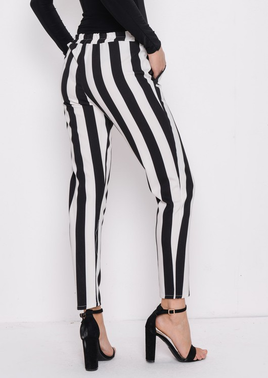Bold Stripe Slim Leg Trousers Multi Black