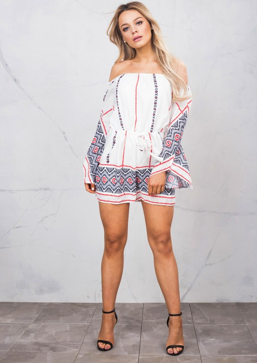 Border Print Flare Sleeve Off Shoulder Bardot Playsuit White