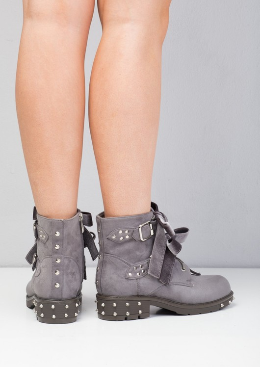 Bow Detailed Lace Up Studded Biker Ankle Boots Grey