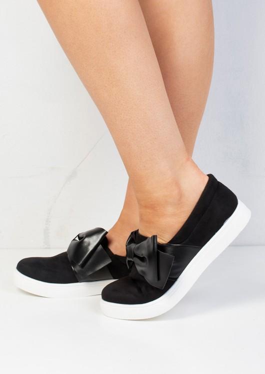 Bow Faux Suede Slip On Sneaker Pumps Black