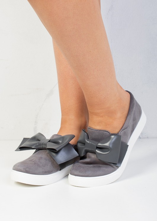 Bow Faux Suede Slip On Sneaker Pumps Grey