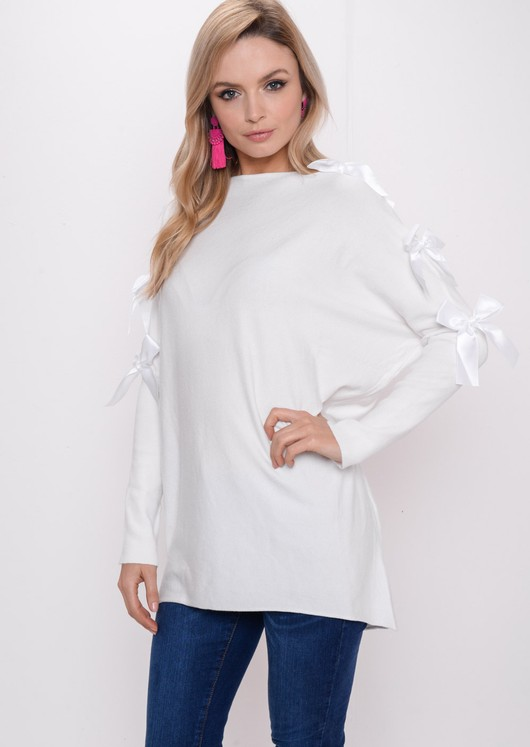 Bow Knitted Jumper Dress White