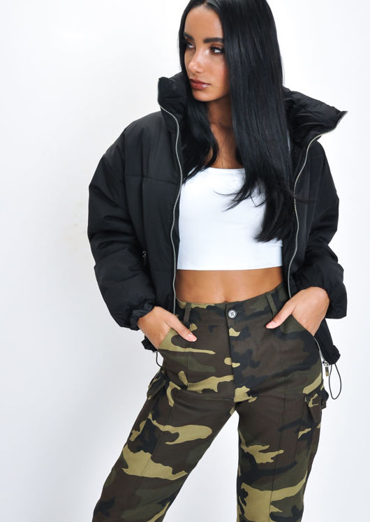 Padded Quilted High Collar Crop Puffer Jacket Black