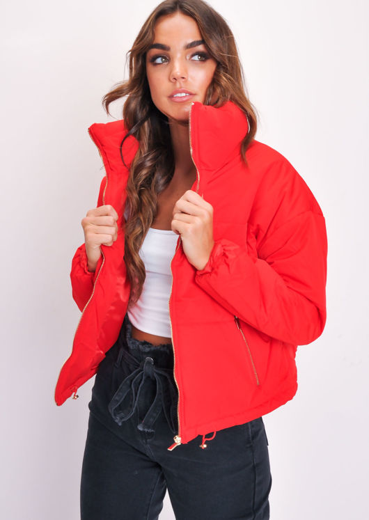 Padded Quilted Fully Lined High Collared Crop Puffer Jacket Red
