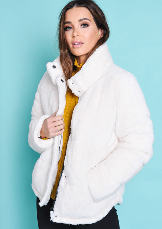 Crop Padded Faux Fur Teddy Jacket Coat Cream White