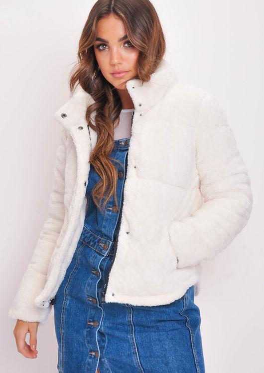 Crop Padded Faux Fur Teddy Jacket Coat Cream White