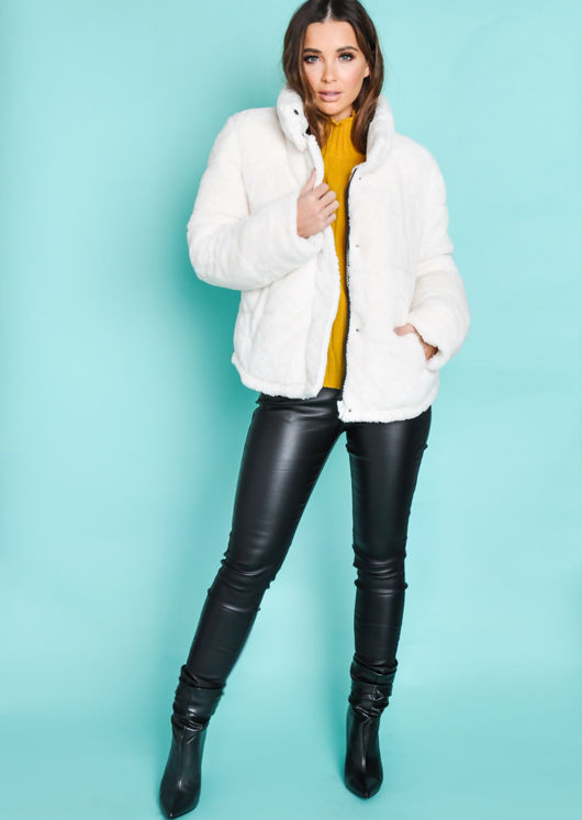 Crop Padded Faux Fur Teddy Jacket Coat Cream White Lily Lulu