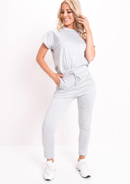 Boxy Short Sleeve Lounge Co Ord Set Grey