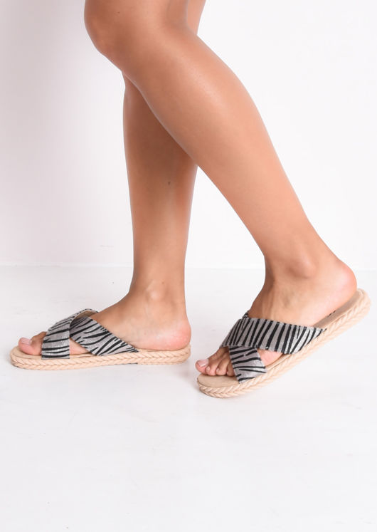 Braided Detail Cross Over Zebra Print Sliders Black