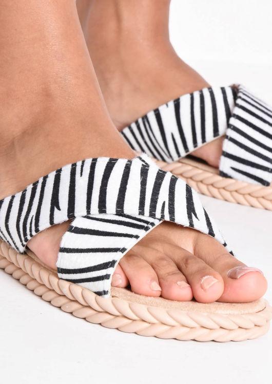 Braided Detail Cross Over Zebra Print Sliders Multi