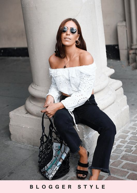 Broderie Anglaise Bardot Flare Sleeve Crop Top White
