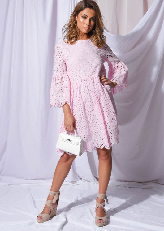 Broderie Anglaise Flare Sleeve Gathered Dress Pink