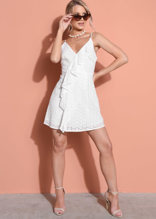 Broderie Anglaise Crochet Lace Frill Skater Dress White