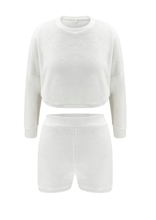 Brog Teddy Loungewear Sweatshirt Shorts Co-Ord Sets White