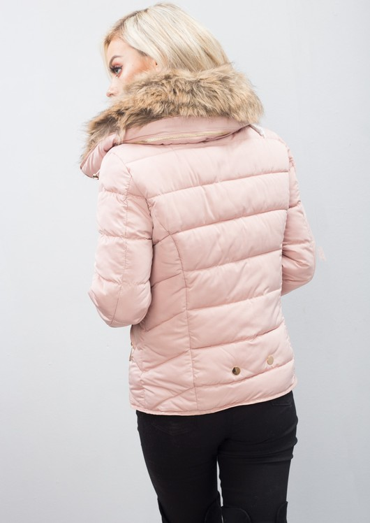Brown Faux Fur Collar Quilted Padded Puffer Jacket Coat Dusty Pink