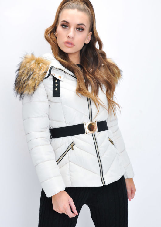 Brown Faux Fur Hooded Belted Padded Puffer Coat Beige
