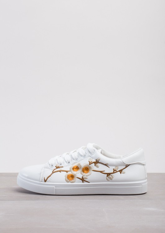 Brown Flower Embroidered Trainers White