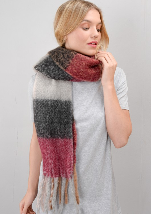 Brushed Check Scarf Multi